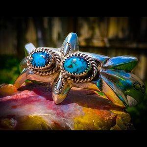Native Navajo Turquoise cuff bracelet Silver🌵